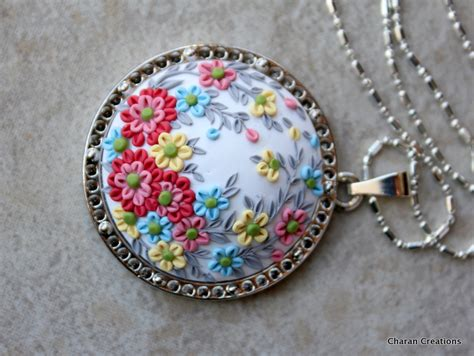 how to make clay pendants for jewelry polymer clay applique pendant necklace by charancreations
