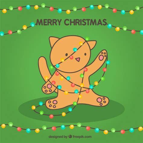 merry christmas card   cute cat vector