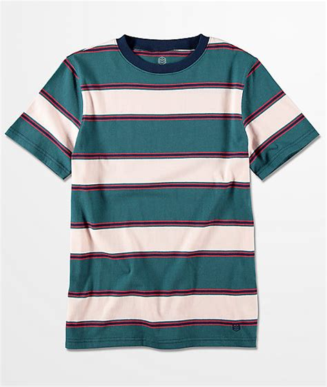 Multi Stripe zine boys slouch teal multi stripe t shirt