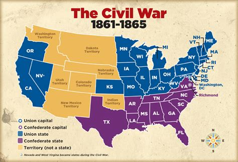 civil war states map civil war for civil war influential americans