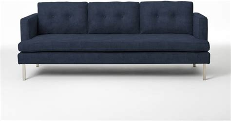 modern blue sofa jackson sofa ink blue performance velvet modern sofas by west elm