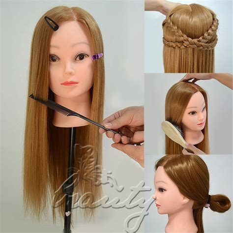 blonde mannequin hairstyles with rubber bands 30 26 quot real human hair training head cosmetology