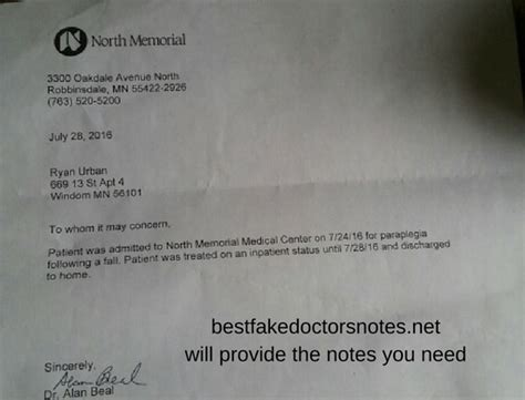 Excuse Letter Ulcer Free Dr Notes And Use Of Doctors Note Templates Tips On Doctors Notes