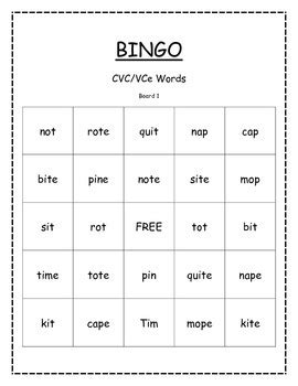 vce pattern words list bingo cvc vce short and long vowels by miss barker s