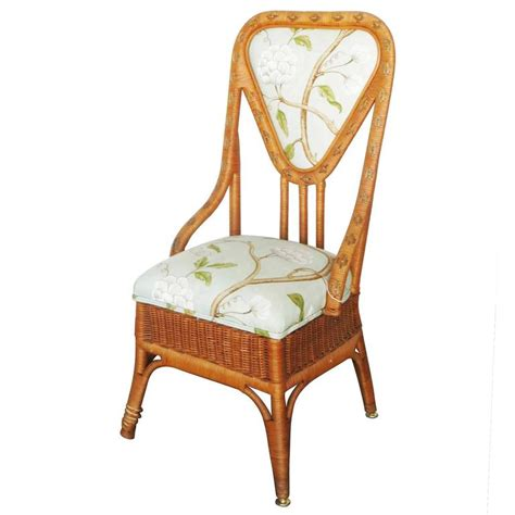 Wicker Back Chairs by Woven Wicker And Rattan Slipper Chairs With High Back
