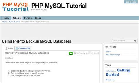 xml tutorial in php 10 tutorials to take mysql database backup
