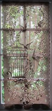 Brown Lace Curtains Brown Lace Curtain Window Curtain Bird By Hatchedinfrance