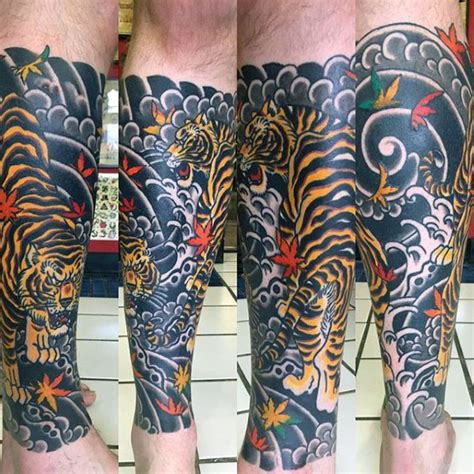 japanese leg tattoos for men 70 japanese tiger designs for masculine ideas