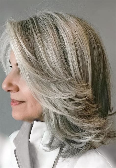 hairstyles grey highlights grey blending a1 single process color pinterest gray