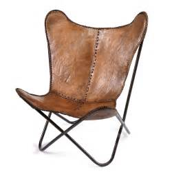 butterfly chair in brown leather