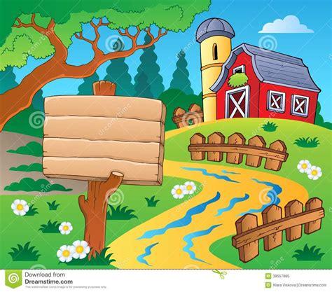 Scheune Clipart by Bauernhofthema Mit Roter Scheune 4 Vektor Abbildung Bild