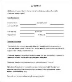 contract template 5 dj contract templates free word pdf documents