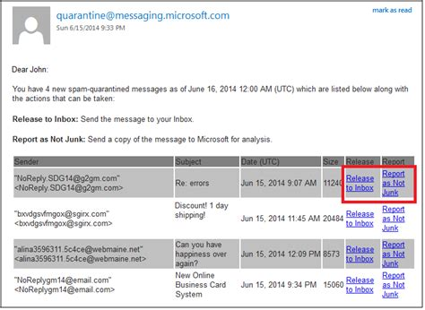 email quarantine email review your quarantined messages from an eop spam