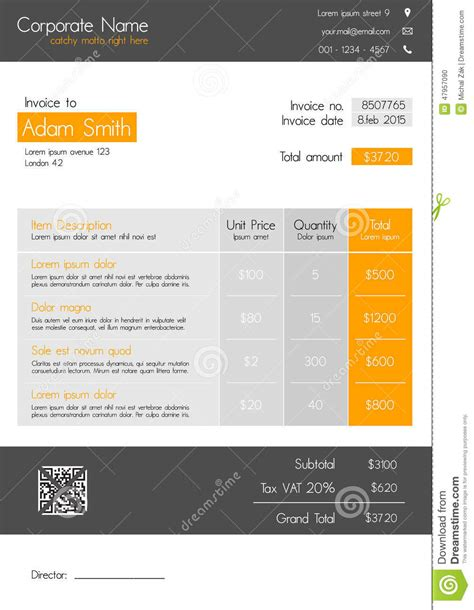 light on harbortouch receipt template invoice template clean modern style of orange and grey