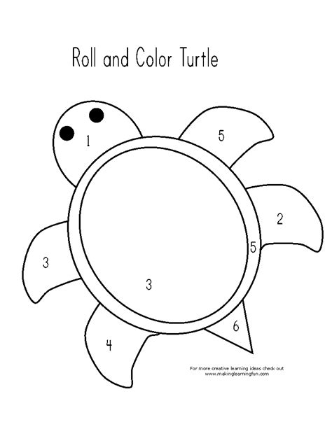 preschool coloring pages turtles roll and color turtle preschool math worksheet free math