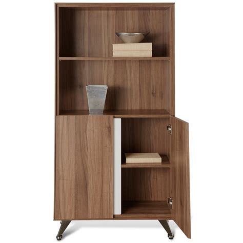 contemporary bookcase with doors contemporary bookcase with doors walnut dcg stores