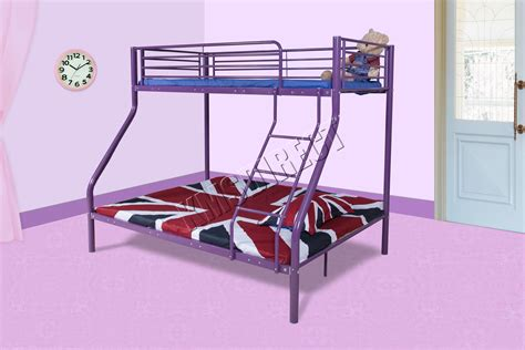 Foxhunter New Purple Metal Triple Children Sleeper Bunk Purple Bed Frame
