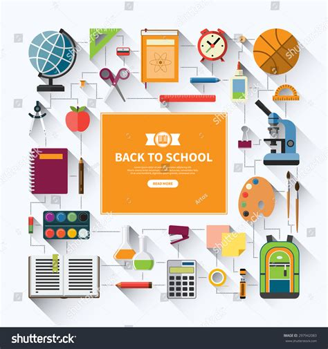 school supplies icon set back back school flat vector background education stock vector