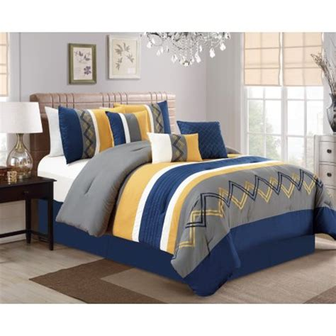 yellow bed in a bag 11 piece chevron embroidered navy yellow gray bed in a bag