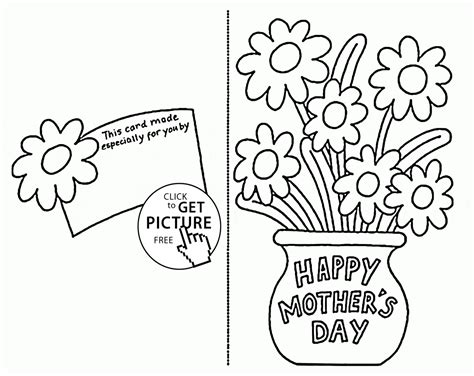 preschool mothers day card template card with flowers for mothers day coloring page for