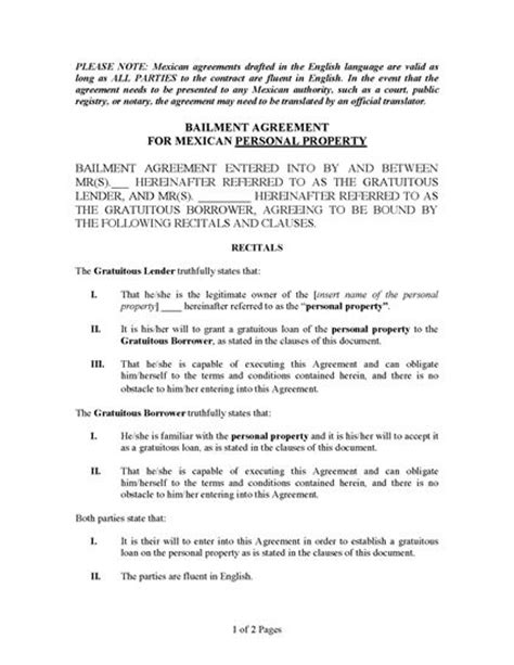 bailment agreement template mexico bailment agreement for personal property