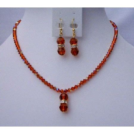Handmade Jewelry - fall color handmade jewelry swarovski ab indian