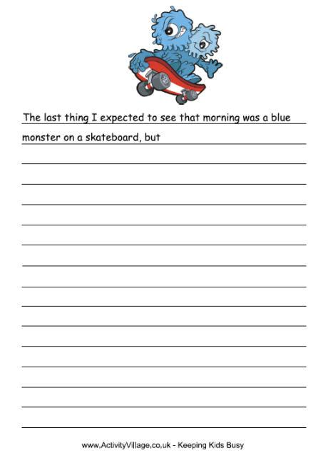 blue monster story starter monster printables kids