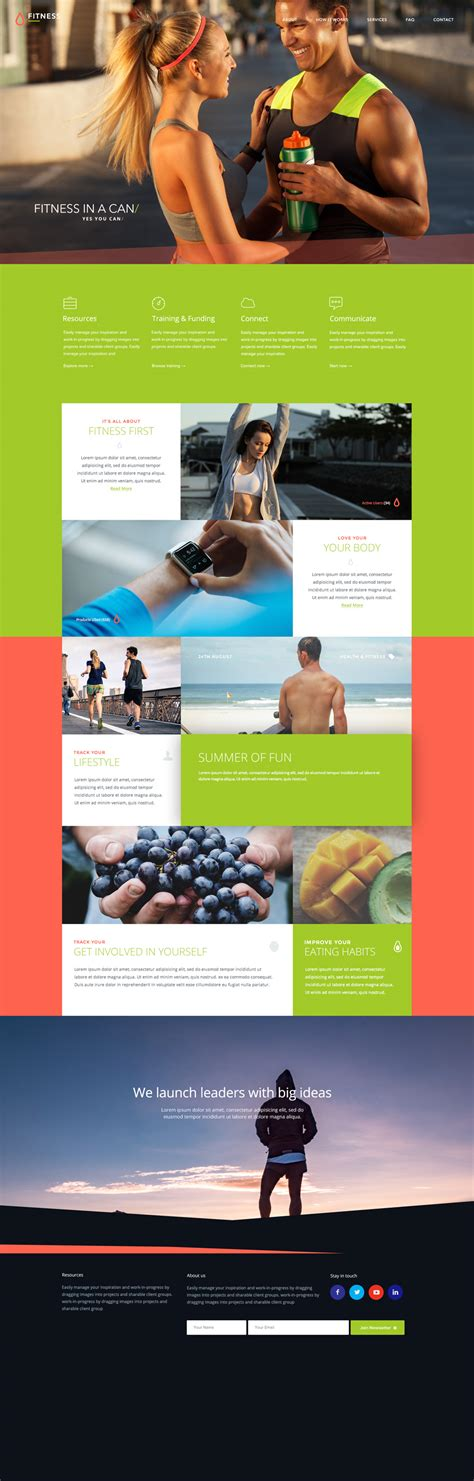 Fitness Free Photoshop Psd Template Blazrobar Com Fitness Website Design Templates
