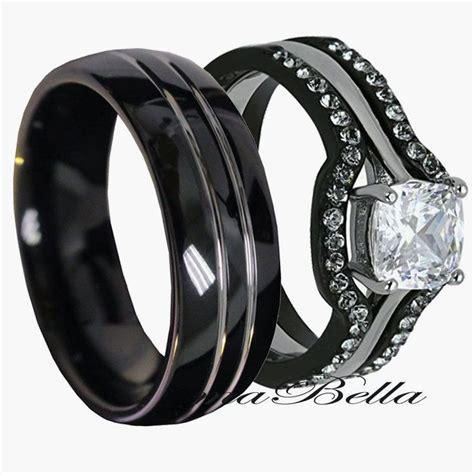 his tungsten hers black stainless steel 4 pc wedding