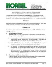 Co Promotion Agreement Template by Advertising And Promotion Agreement Norml Network And