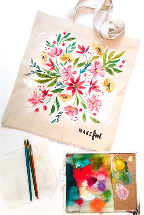 does acrylic paint work on canvas bags diy floral makeful tote bag natalie malan