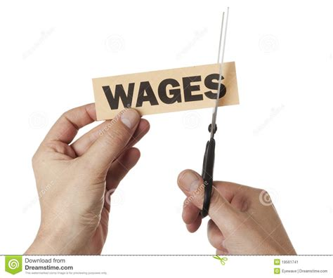 wages for and a cut in wages stock image image 19561741