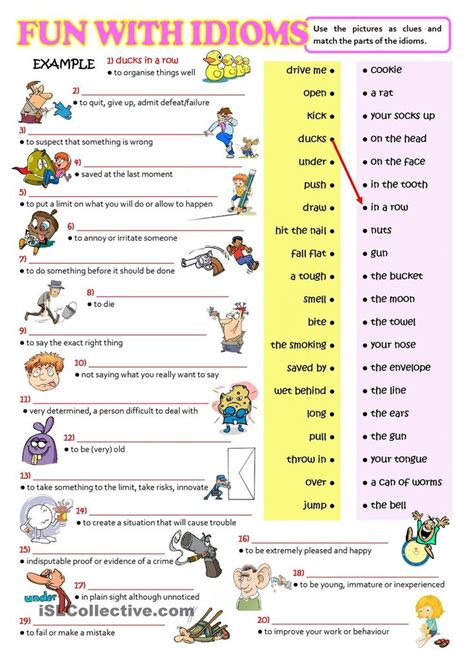 printable idioms quiz fun with idioms esl worksheets of the day pinterest