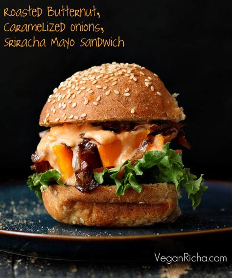 vegan sriracha mayo roasted butternut squash slider with balsamic caramelized