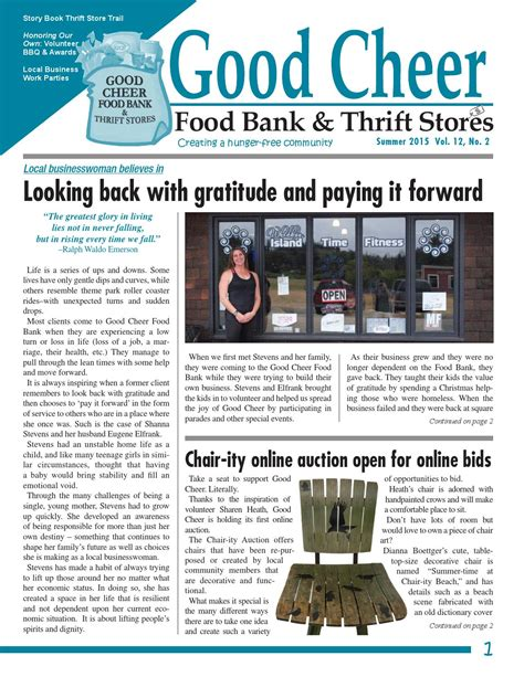 Bank Newsletter Issuu Summer 2015 Cheer Newsletter By Cheer Food Bank
