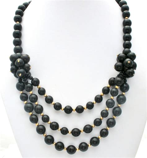 E248 Tas Fashion Import Vintage Ring Black black statement beaded necklace gold 24 in fashion vintage