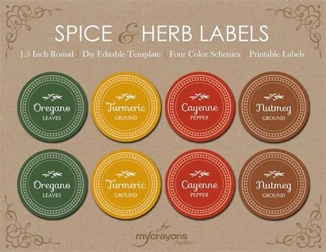 printable spice jar labels round editable spice jar labels diy printable kitchen labels