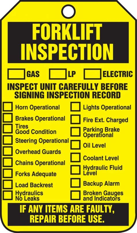 tag supplier audit forklift inspection equipment status safety tag trs305