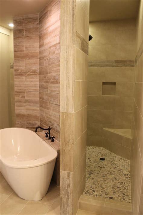 """Walk through"" custom master shower   Transitional"