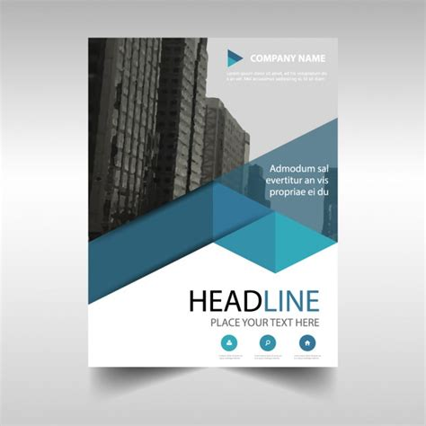 Corporate Brochure Blue Geometric Shapes Vector Free