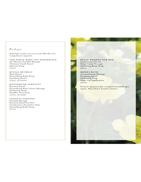 spa menu of service the white barn inn free download