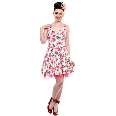 Dress Pink Floral banned new black white pink floral vintage 50s rockabilly dress