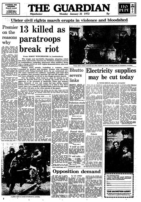 sunday news bloody sunday 40th anniversary how the guardian reported