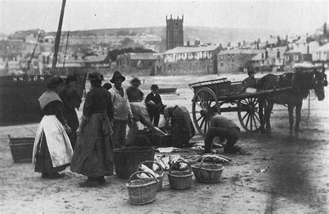 boat auctions cornwall gutting fish st ives harbour 1890 cornwall guide