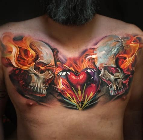 skull heart tattoo flaming skulls mens chest best