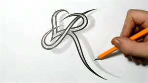 letter r and heart combined tattoo design ideas for