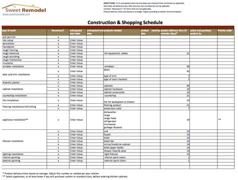 house renovation spreadsheet template construction schedule template cyberuse