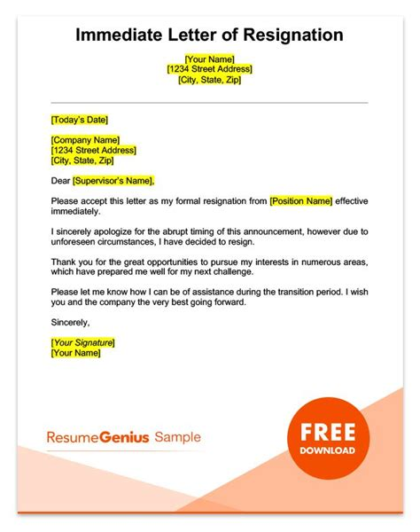 immediate resignation letter specific resignation letters sles resume genius 1330