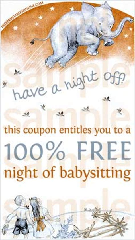 printable gift certificate for babysitting have a night off babysitting voucher free printables online