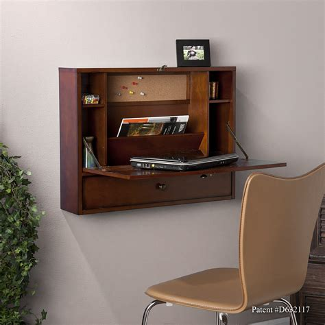 Wall Mount Laptop Desk Brown Mahogany Mount Laptop Desk